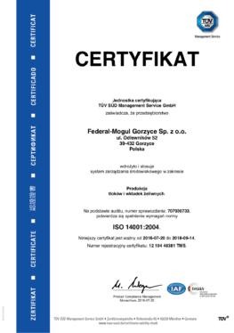Bhp Certyfikat ISO 14001
