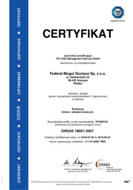 Bhp Certyfikat OHSAS 18001
