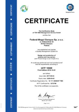 Jakość   IATF   Certficate